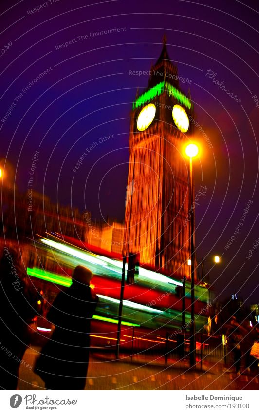 Big Ben Vacation & Travel Sightseeing City trip London England Tower Tourist Attraction Gigantic Historic Movement Colour Perspective Colour photo Night