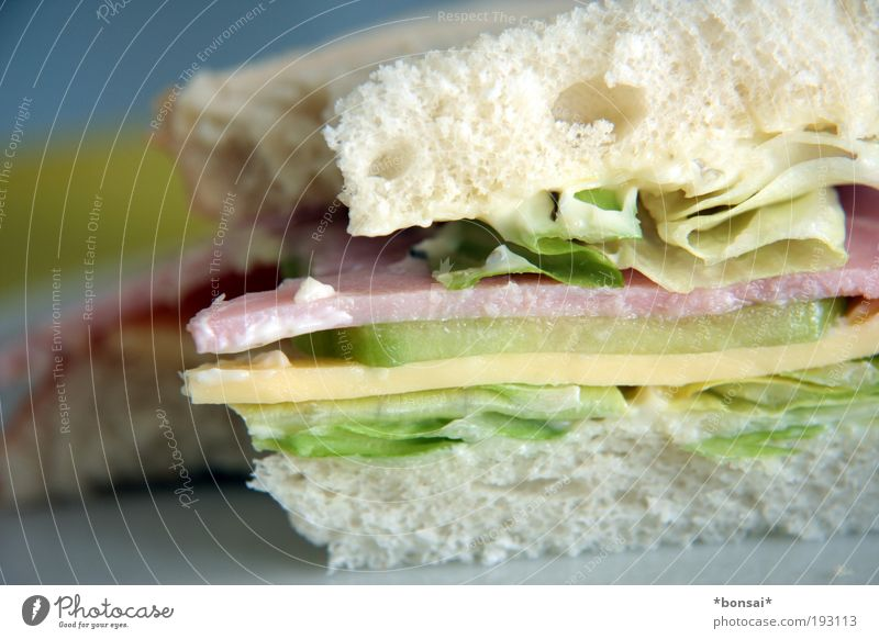 sandwich Food Sausage Cheese Vegetable Lettuce Salad Bread To enjoy Simple Fresh Delicious Speed Multicoloured Anticipation Refrain Appetite Voracious Nutrition
