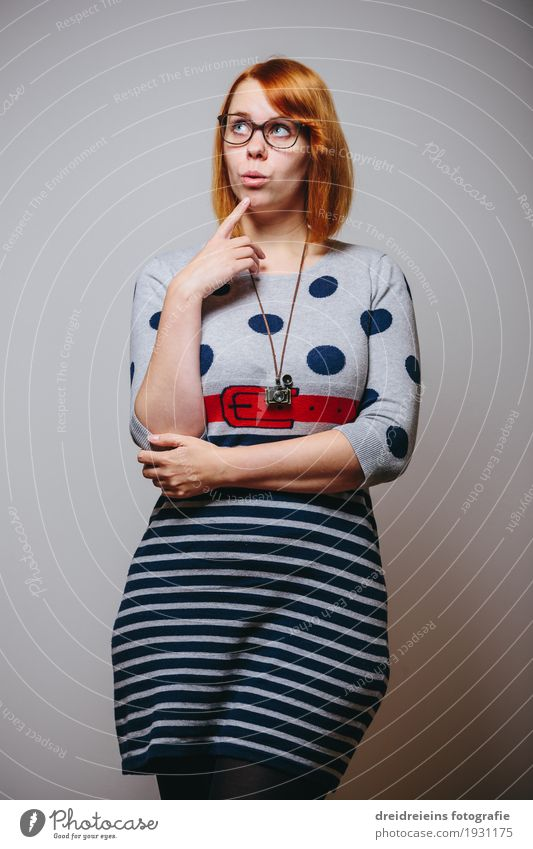thoughtful. Lifestyle Office Services Media industry Advertising Industry Feminine Woman Adults Eyeglasses Red-haired Nerdy Cool (slang) Expectation Communicate