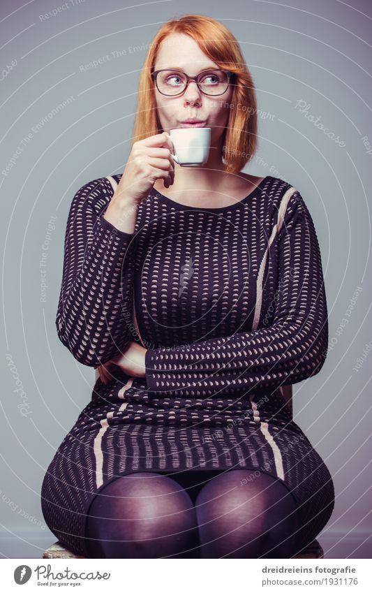 coffee break Drinking Hot drink Hot Chocolate Coffee Espresso Tea Lifestyle Feminine Woman Adults Relaxation To enjoy Sit Cool (slang) Elegant Success