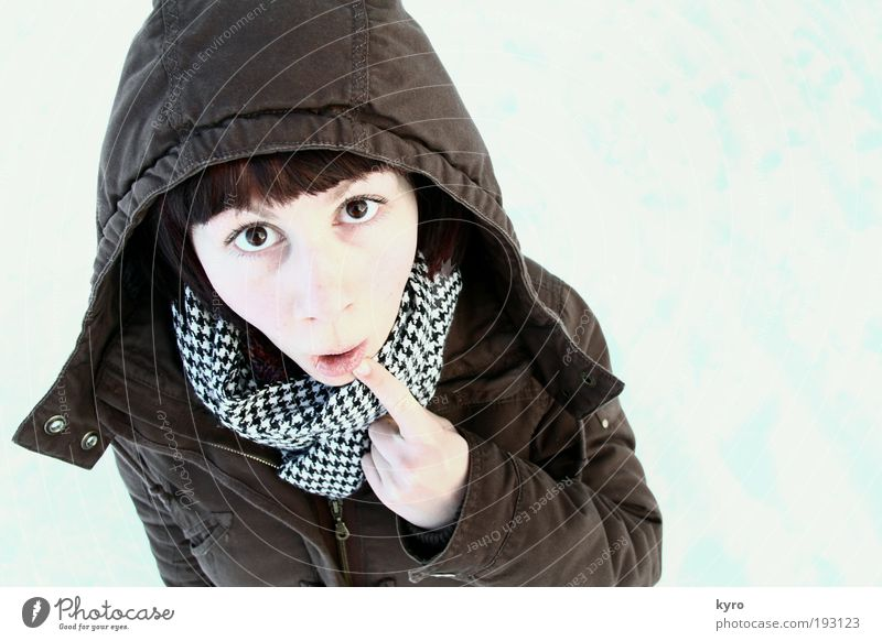 Öhm Joy Winter Snow Face Fingers 18 - 30 years Youth (Young adults) Adults Jacket Scarf hood Looking Exceptional Bright Funny Crazy Brown Anticipation Curiosity