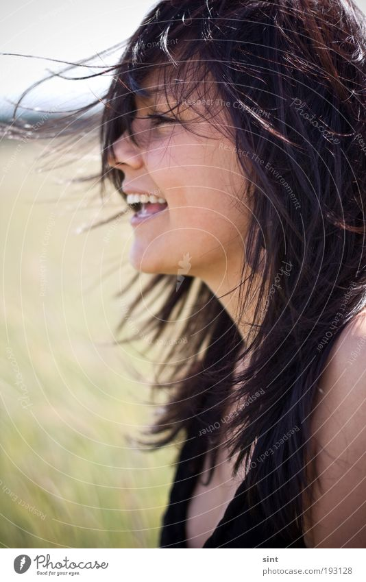 Human being Youth (Young adults) Beautiful Summer Joy Adults Relaxation Feminine Emotions Hair and hairstyles Laughter Happy Moody Contentment Wind Natural