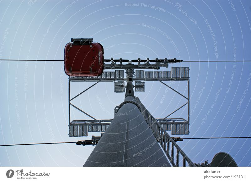 Sky Environment Air Bright Tall Elements Steel cable Upward Vertical Pole Blue sky Sky blue Cloudless sky Gondola Cable car Steel construction