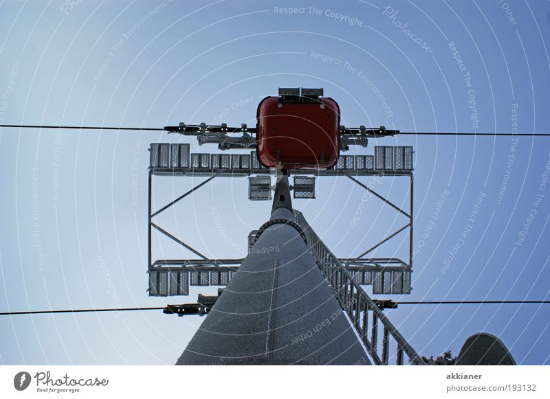 Sky Environment Bright Tall Steel cable Upward Vertical Pole Blue sky Sky blue Cloudless sky Gondola Cable car Steel construction Skyward Clear sky