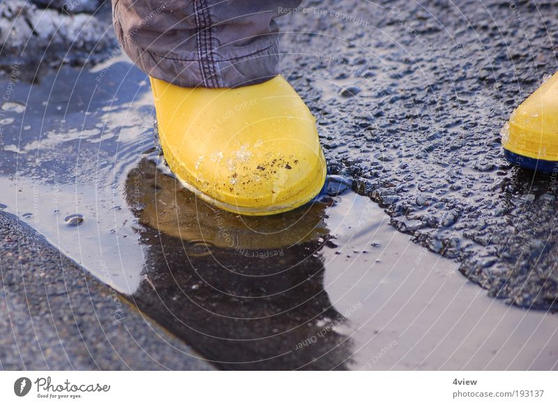 Water Joy Yellow Jump Movement Stone Wet Fresh Cleaning Serene Under Protection Rubber boots Emotions