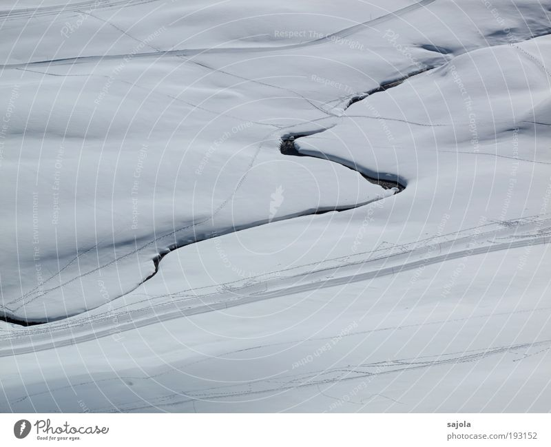 Water White Winter Snow Line Pure Tracks Abstract Footpath Brook Snowscape Lanes & trails Winter sports Bird's-eye view Winter vacation