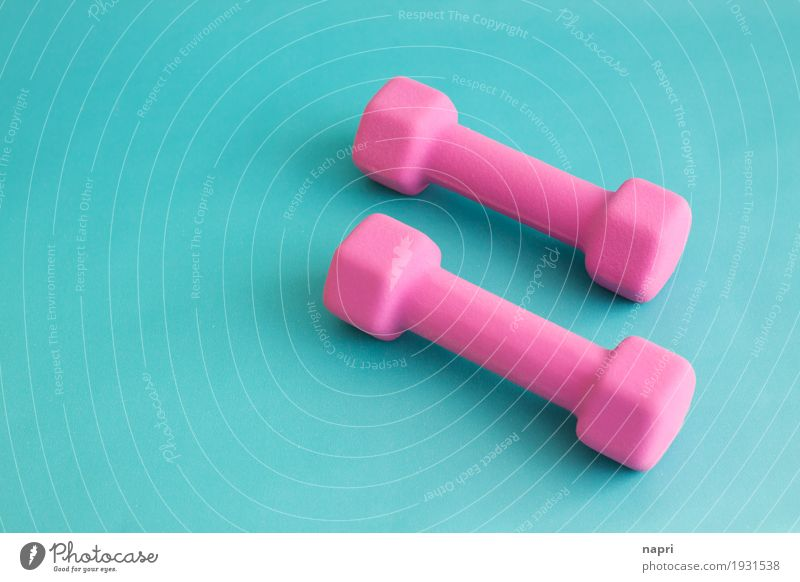 Good resolutions Sports Fitness Sports Training Dumbbell Diet Healthy Athletic Pink Turquoise Willpower Beginning Effort Movement Performance Good intentions