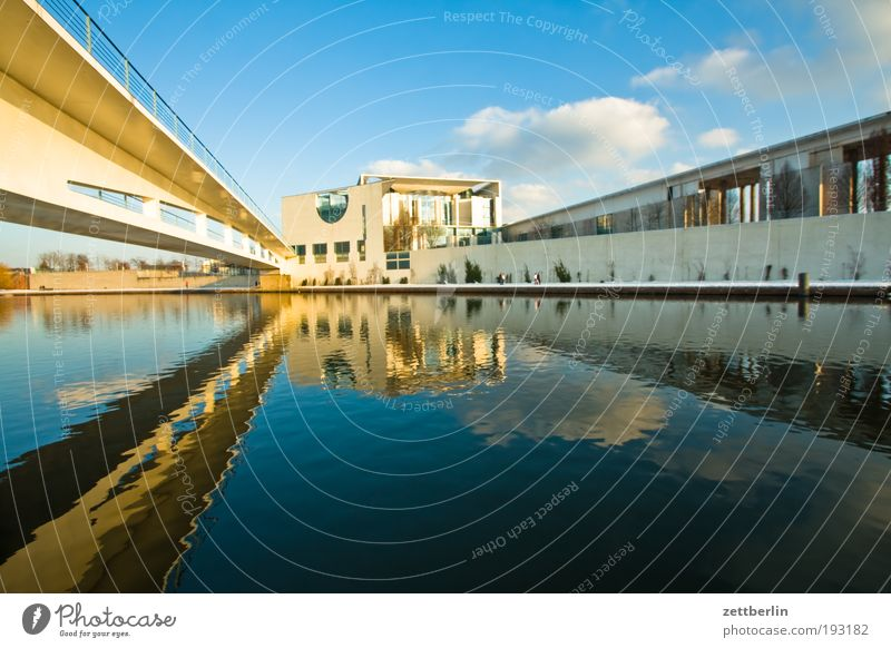 Federal Chancellery Berlin Capital city Government Seat of government Spreebogen Water Channel Surface of water Reflection Meditative Bridge Footbridge Concrete