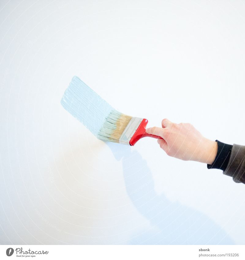 spreadpaint Painter Painting (action, work) Blue Red Paintbrush Brush stroke Dye Painting (action, artwork) Wall (building) Colour photo Interior shot