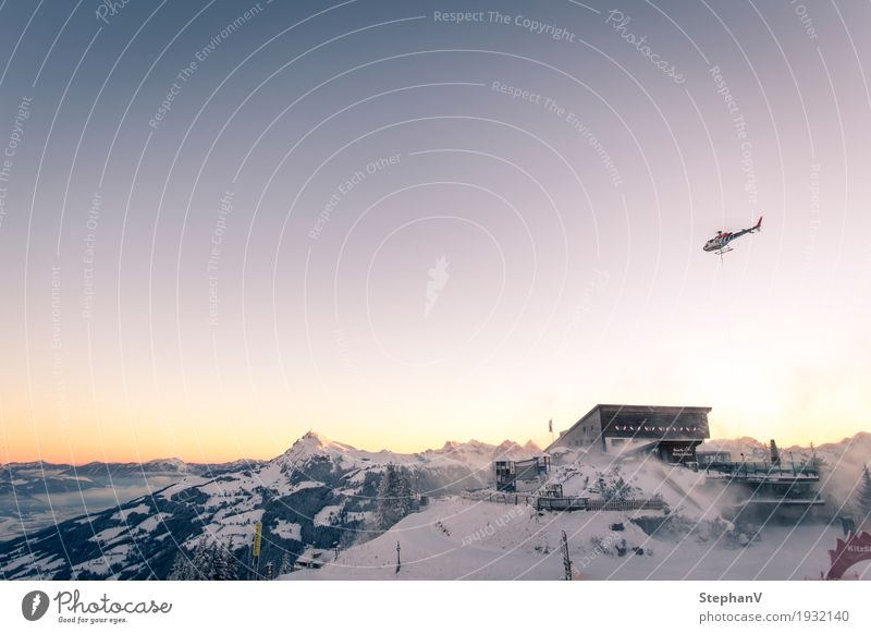 Sky Landscape Winter Mountain Snow Freedom Flying Tourism Horizon Aviation Logistics Skiing Alps Cloudless sky Winter vacation Helicopter