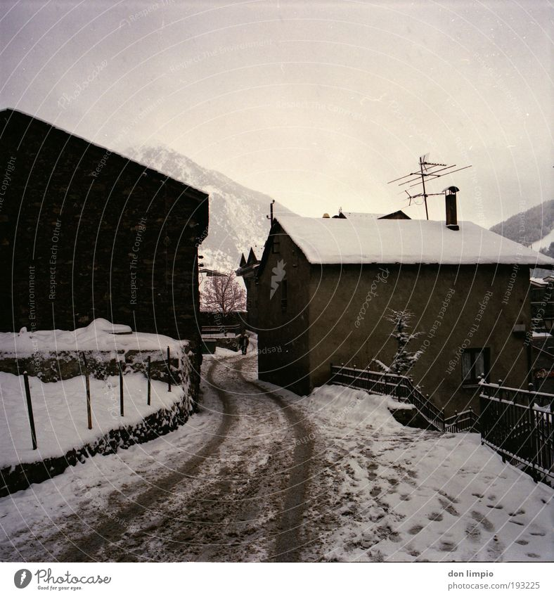 Old Vacation & Travel Winter Far-off places Mountain Snow Lanes & trails Village Hut Bad weather House (Residential Structure) Medium format Detached house