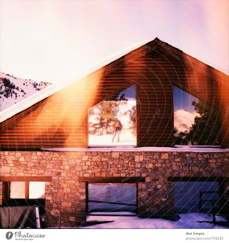 Red Winter House (Residential Structure) Wall (building) Window Mountain Wall (barrier) Facade Warm-heartedness Analog Illuminate Hut Beautiful weather