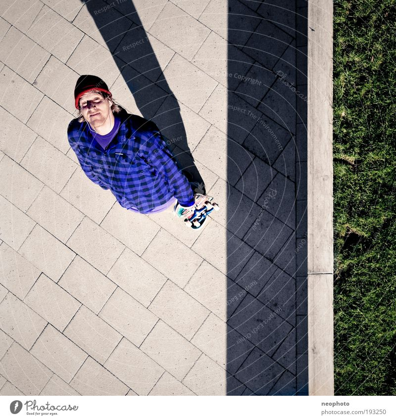 Gods Eye Skateboarding Breathe Expectation Hope Contentment Square Colour photo Exterior shot Aerial photograph Light Shadow Contrast Bird's-eye view