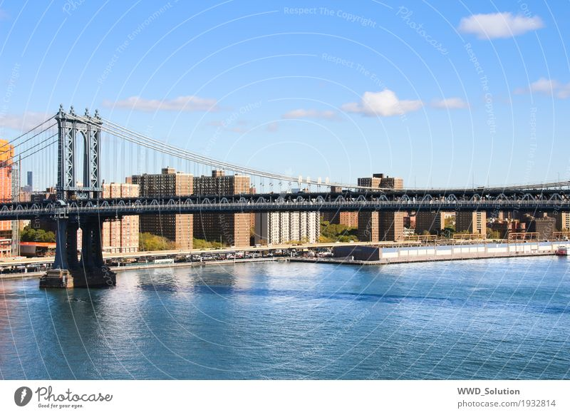 Manhattan Bridge New York City Americas Town Skyline Tourist Attraction Culture Colour photo Exterior shot Deserted Suspension bridge River East River