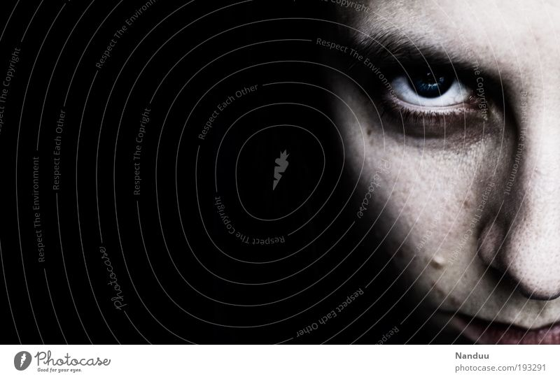 Youth (Young adults) Face Eyes Dark Feminine Adults Threat Anger Creepy Stress 18 - 30 years Woman Aggression Pride Young woman Copy Space left