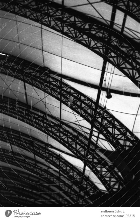Dark Architecture Glass Net Steel Train station Construction Archway Grating Black & white photo Train travel Rail transport Station hall
