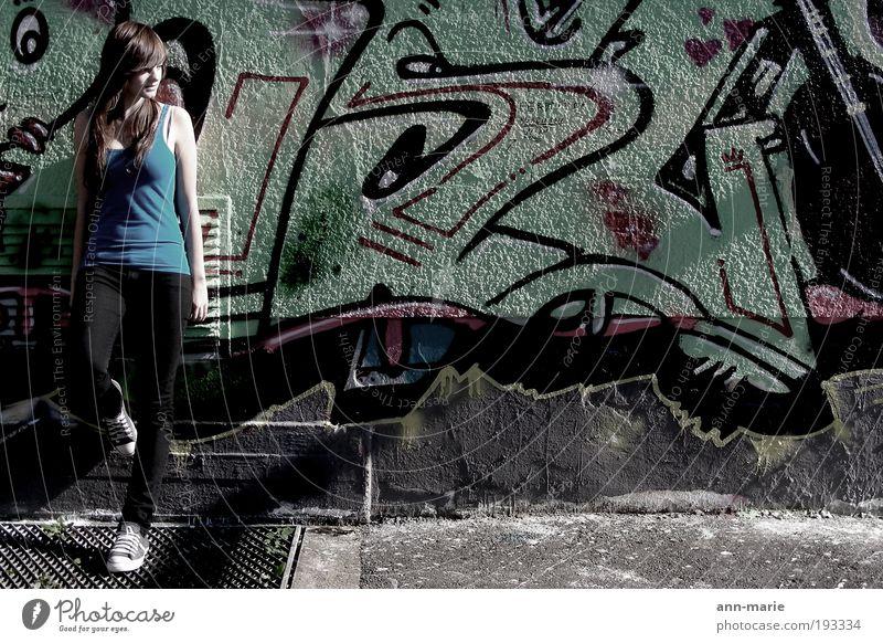 Wall (building) Graffiti Wall (barrier) Cool (slang) Touch Brunette Human being