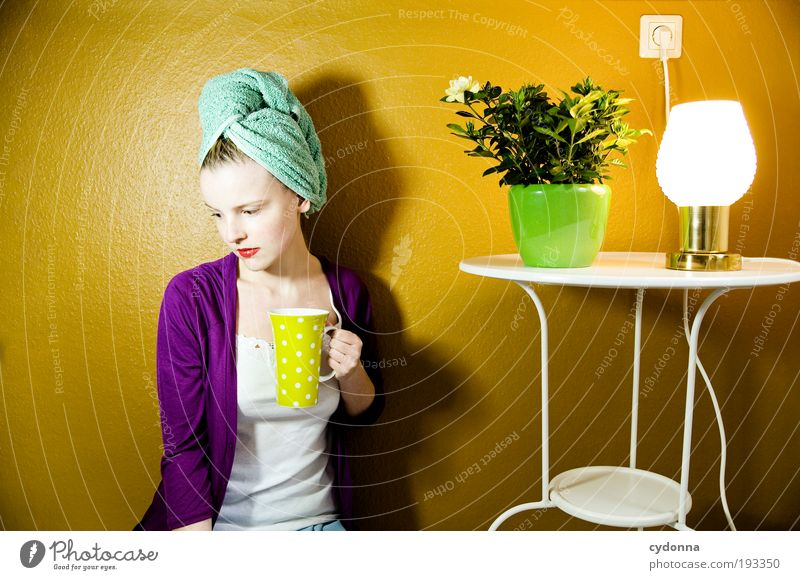 Human being Woman Youth (Young adults) Beautiful Loneliness Adults Life Hair and hairstyles Style Lamp Time Interior design Room Flat (apartment) Elegant Design
