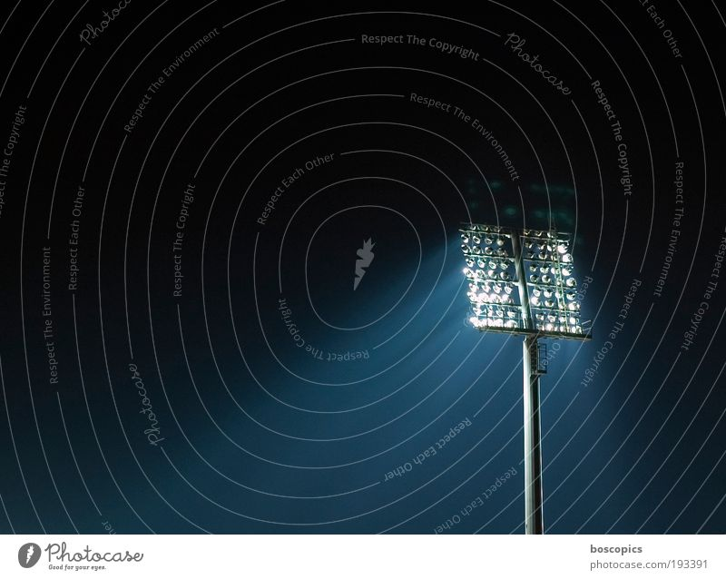 Blue White Black Moody Technology Sporting event Enthusiasm Stadium Football pitch Floodlight Light Night Copy Space left Lighting element Sporting Complex