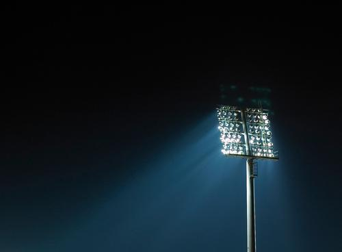 floodlight Sporting Complex Sporting event Football pitch Stadium Technology Blue Black White Moody Enthusiasm Floodlight Lighting element Colour photo