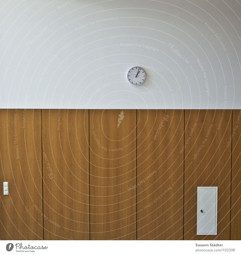 time is up Building Wall (barrier) Wall (building) Optimism Success Lecture hall Wall clock Station clock Fuse-box Light switch Wood panelling Prompt 13
