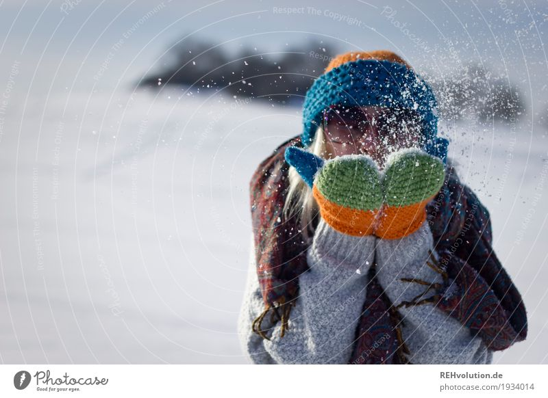 Woman blowing snow in winter Human being Feminine Young woman Youth (Young adults) 1 18 - 30 years Adults Environment Nature Landscape Winter Beautiful weather