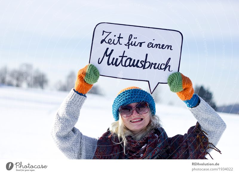 Human being Nature Youth (Young adults) Young woman Landscape Winter 18 - 30 years Adults Environment Snow Feminine Style Happy Characters Signs and labeling Smiling