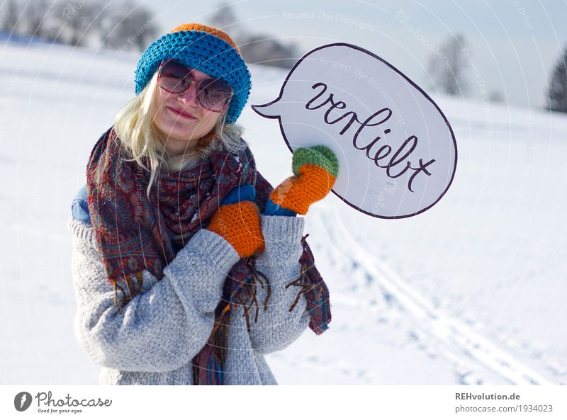 Jule in love. Style Vacation & Travel Human being Feminine Young woman Youth (Young adults) 1 18 - 30 years Adults Environment Nature Landscape Sun Winter Snow