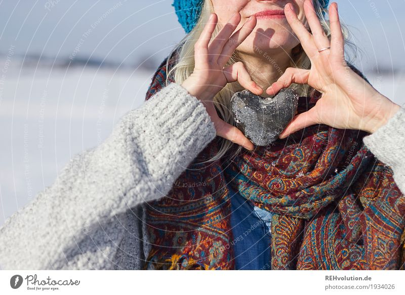 Human being Woman Nature Youth (Young adults) Young woman Landscape Hand Winter 18 - 30 years Adults Environment Love Snow Feminine Style Happy