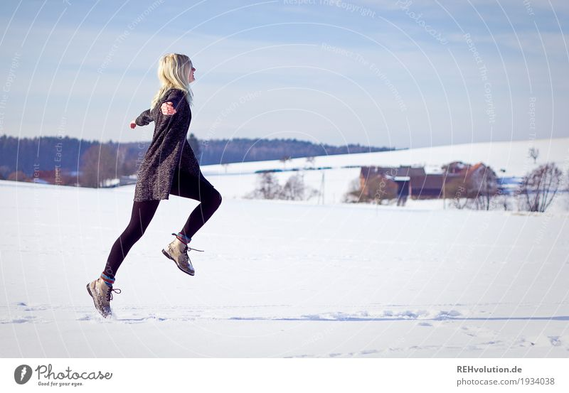 Jule jumps in winter. Style Well-being Contentment Leisure and hobbies Vacation & Travel Freedom Human being Feminine Young woman Youth (Young adults) Adults 1