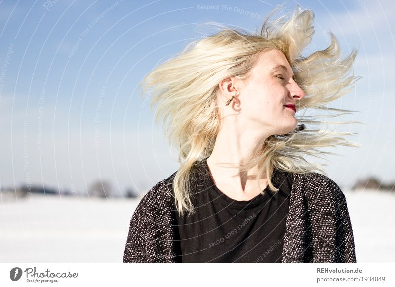 Human being Woman Nature Youth (Young adults) Young woman Beautiful White Landscape Joy Winter 18 - 30 years Face Adults Environment Movement Snow