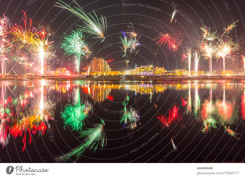 Fireworks over Duhnen Joy Feasts & Celebrations New Year's Eve Water Coast Cuxhaven Embrace Happiness Happy Anticipation Optimism Power Beginning End