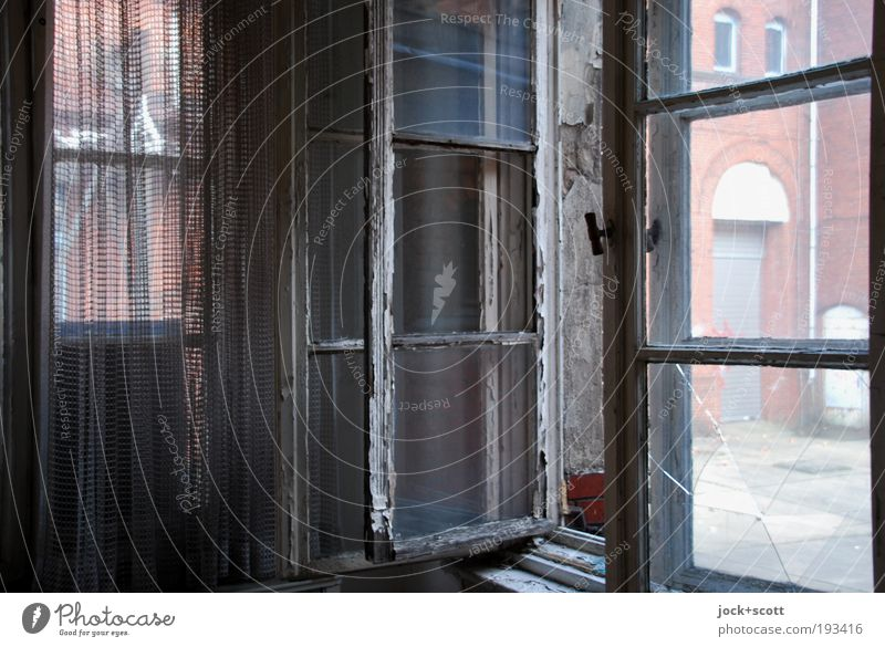 open to anything Room Curtain lost places Treptow House (Residential Structure) Building Window Wood Authentic Dirty Dark Historic Broken Original Moody