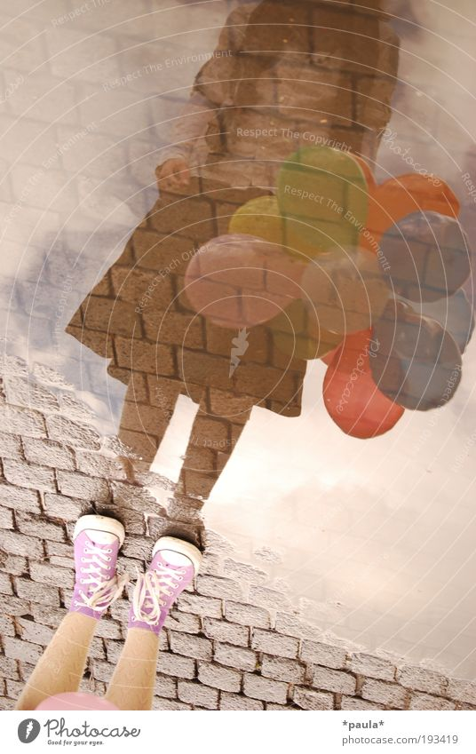 With your head somewhere else... Feminine Girl Legs Feet 1 Human being Earth Water Sky Skirt Sneakers Balloon Stand Dream Infinity Uniqueness Brown Violet