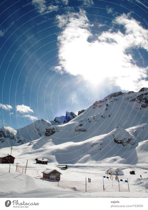 Sky Nature Blue White Vacation & Travel Winter Clouds House (Residential Structure) Snow Environment Landscape Mountain Trip Tourism Illuminate Europe