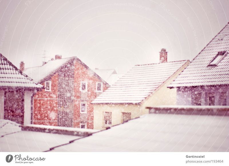 Sky White City Red Winter House (Residential Structure) Yellow Cold Snow Window Snowfall Building Weather Facade Roof Gale