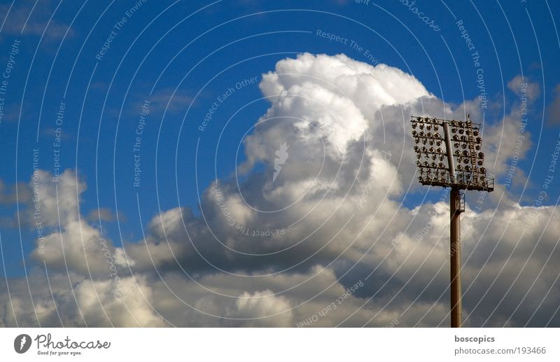 Saturday Leisure and hobbies Ball sports Sporting Complex Football pitch Stadium Sky Clouds Joy Success Moody National league Championship Colour photo