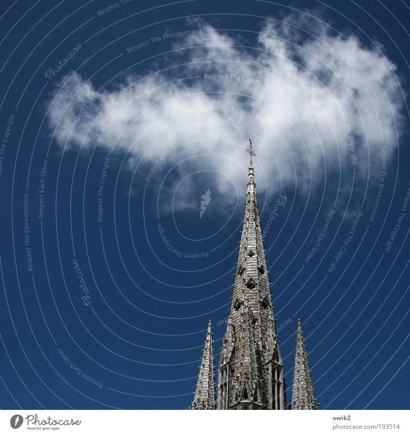 Old Sky White Blue Summer Clouds Gray Building Religion and faith Architecture Tall Church Tower Climate Point Christian cross
