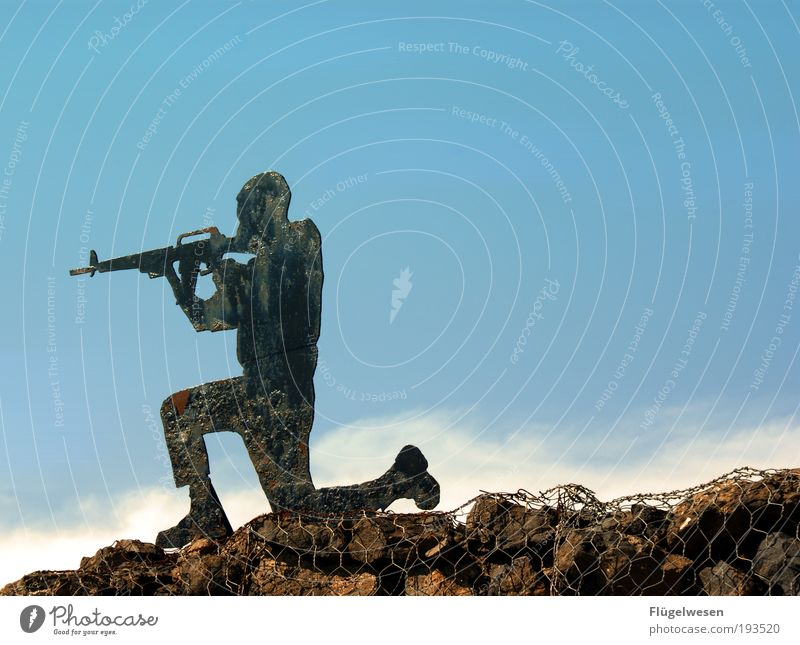 Frozen Warriors Sky Force Rifle Army Defensive Antagonism Colour photo Exterior shot Day Soldier Shoot Target Neutral Background
