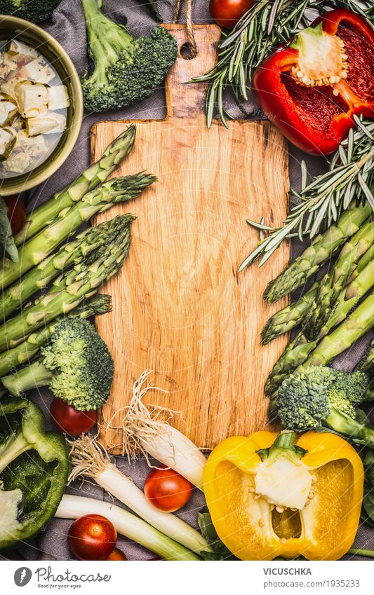 Asparagus and vegetable ingredients Food Cheese Vegetable Herbs and spices Nutrition Lunch Dinner Organic produce Vegetarian diet Diet Style Design Healthy