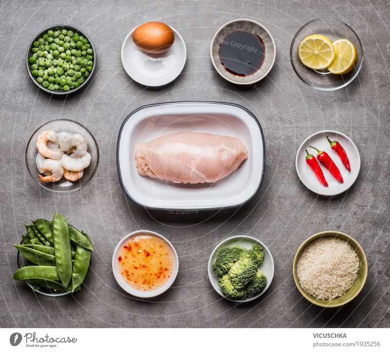Ingredients for fried rice with chicken Food Meat Seafood Vegetable Herbs and spices Cooking oil Nutrition Lunch Dinner Organic produce Diet Crockery Bowl Style