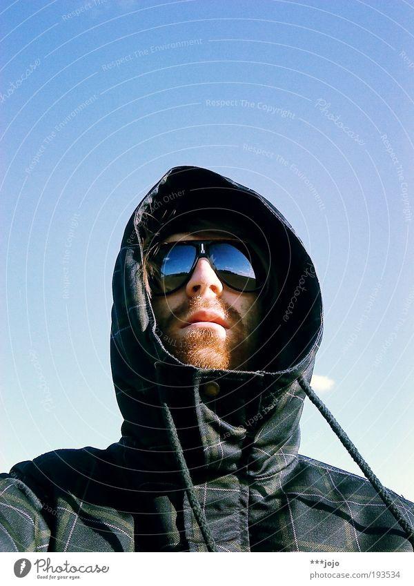 Man Winter Field Fashion Adventure Cool (slang) Vantage point Wild Jacket Facial hair Sunbathing Sunglasses Eyeglasses Portrait photograph Self portrait