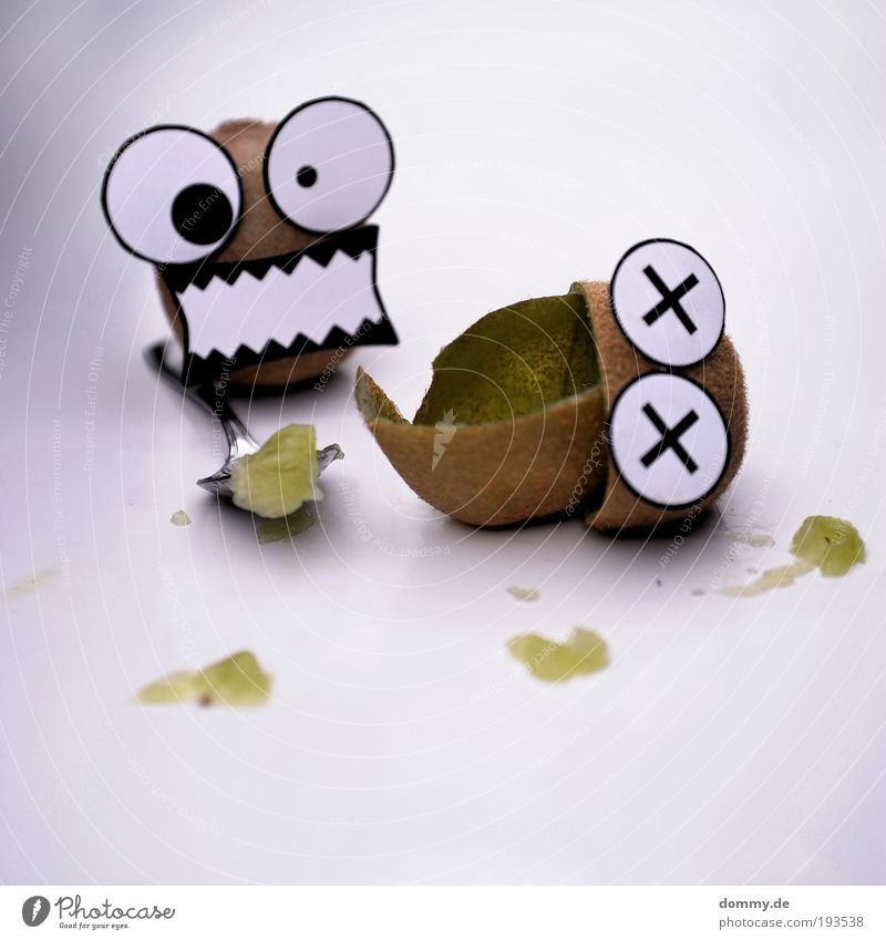 kill kiwi Food Fruit Nutrition Aggression Kiwifruit Spoon Kill Murder Cannibalistic cannibal Mouth Eyes Funny Paper Patch Blood Completed freaky Crazy Oval