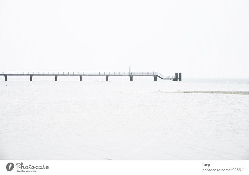 Nature Water Sky White Ocean Black Loneliness Far-off places Lake Landscape Watercraft Bright Environment Harbour Footbridge Jetty