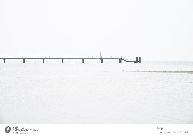 The sea Environment Nature Landscape Water Sky North Sea Baltic Sea Ocean Lake Bright Black White Loneliness Far-off places Jetty Watercraft Harbour Footbridge