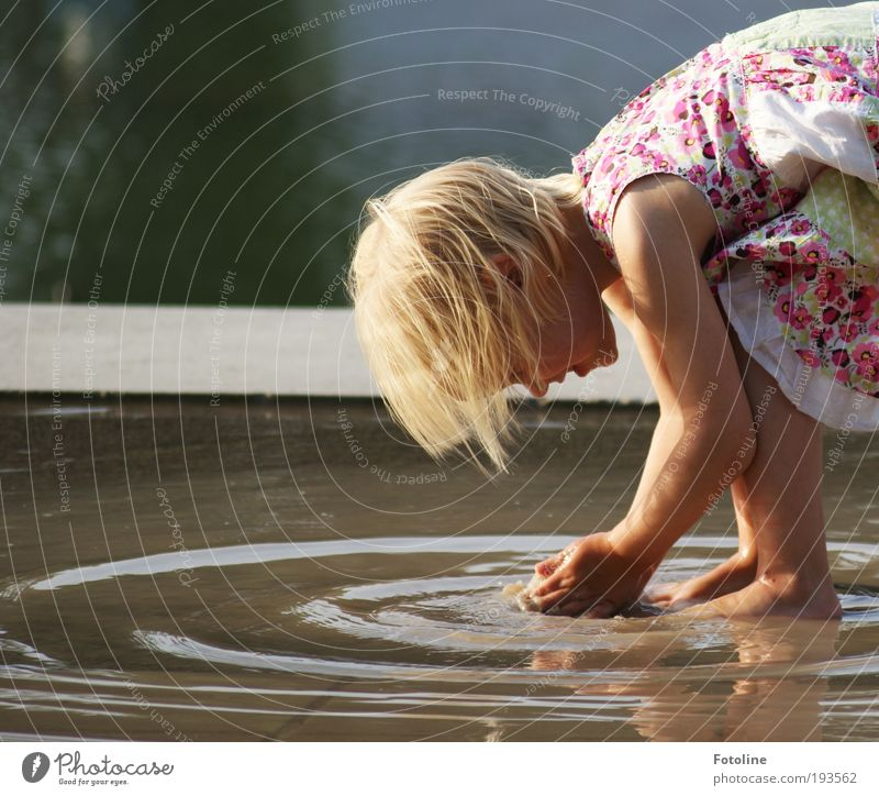 Nature Hand Water Girl Summer Joy Face Life Child Playing Hair and hairstyles Head Feet Mouth Warmth Legs