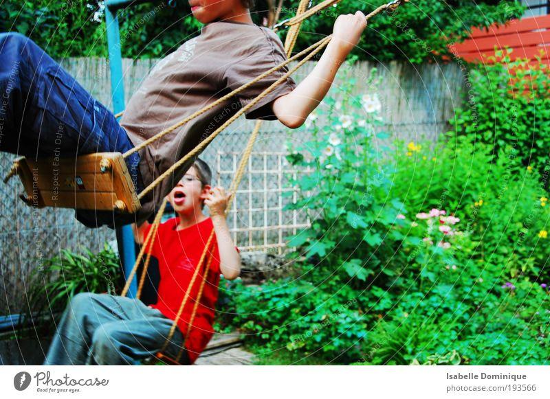 HUI Human being Child Nature Green Plant Flower Joy Playing Boy (child) Grass Happy Garden Infancy Together Masculine Free