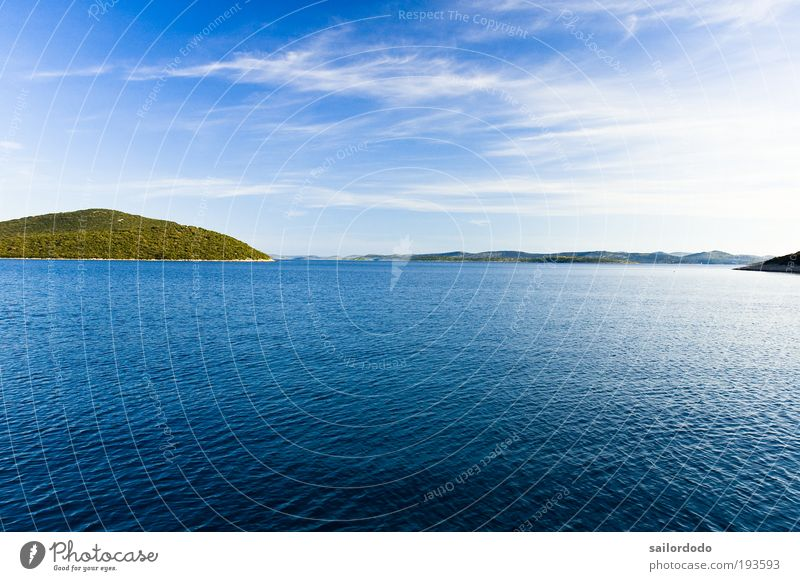 Adriatic Sailing Freedom Summer vacation Ocean Island Environment Nature Landscape Water Sky Clouds Beautiful weather Coast Bay North Sea Adriatic Sea Blue