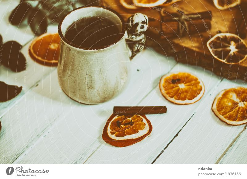 cup of hot tea on a white wooden surface with dried fruits White Wood Brown Orange Fruit Fresh Retro Table Herbs and spices Delicious Hot Breakfast Tea Cup