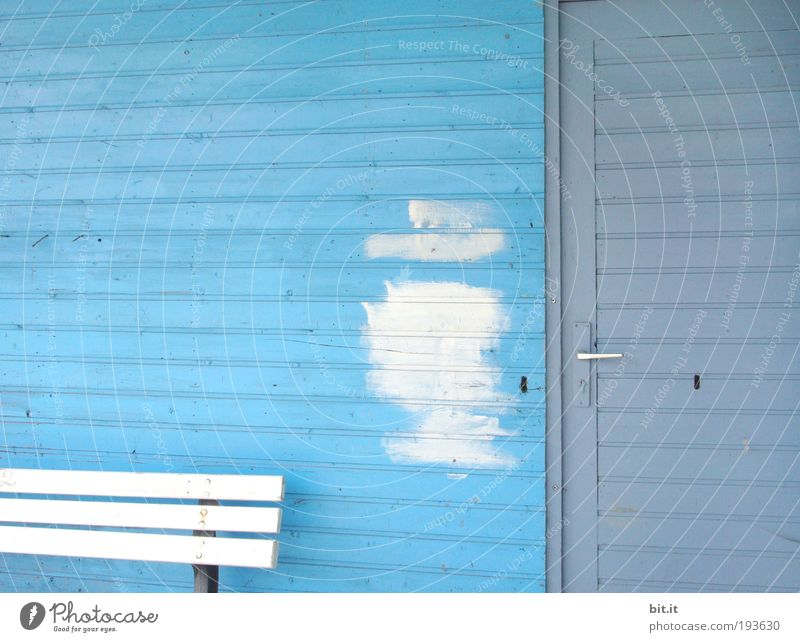 Blue Wall (building) Wood Architecture Building Wall (barrier) Dye Door Closed Facade Beginning Stripe Bench Painting (action, work) Hut Entrance